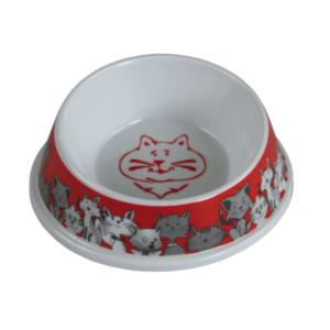 Hilton miska z melaminy dla kota czerwono biała