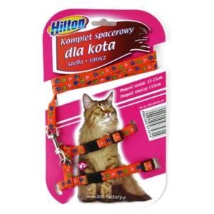 Hilton zestaw spacerowy dla kota czerwony