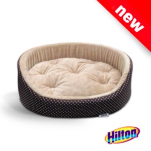 Hilton oval bed with brown beige cushion